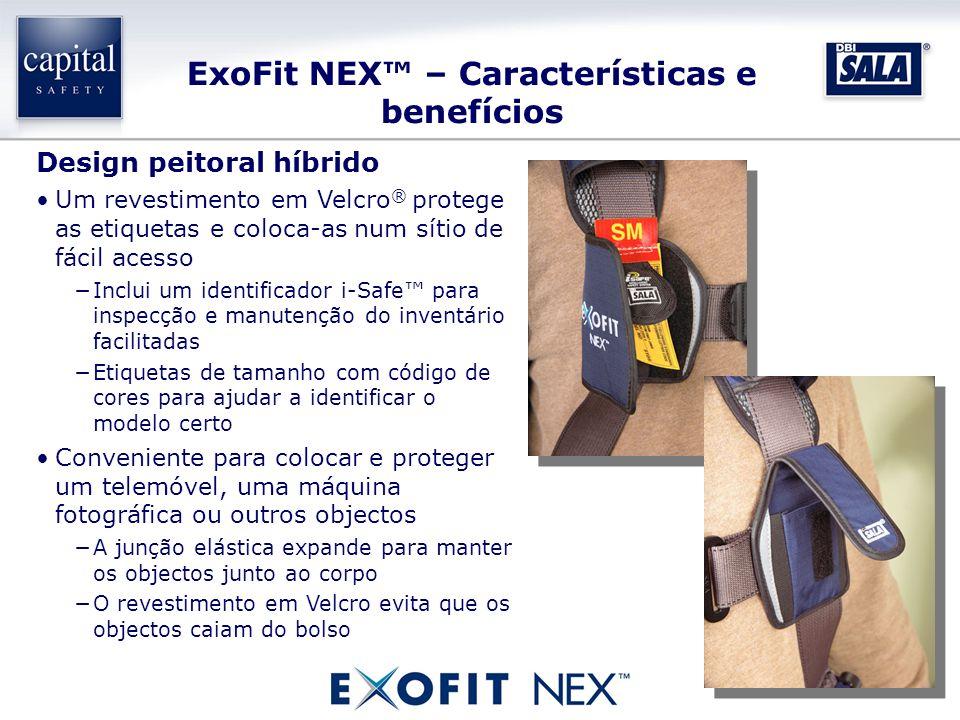 ExoFit NEX – Características e benefícios Design peitoral híbrido Um revestimento em Velcro ® protege as etiquetas e coloca-as num sítio de fácil aces