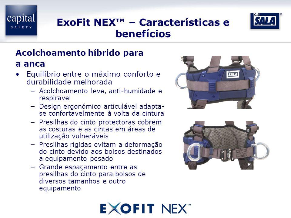 ExoFit NEX – Características e benefícios Acolchoamento híbrido para a anca Equilíbrio entre o máximo conforto e durabilidade melhorada Acolchoamento