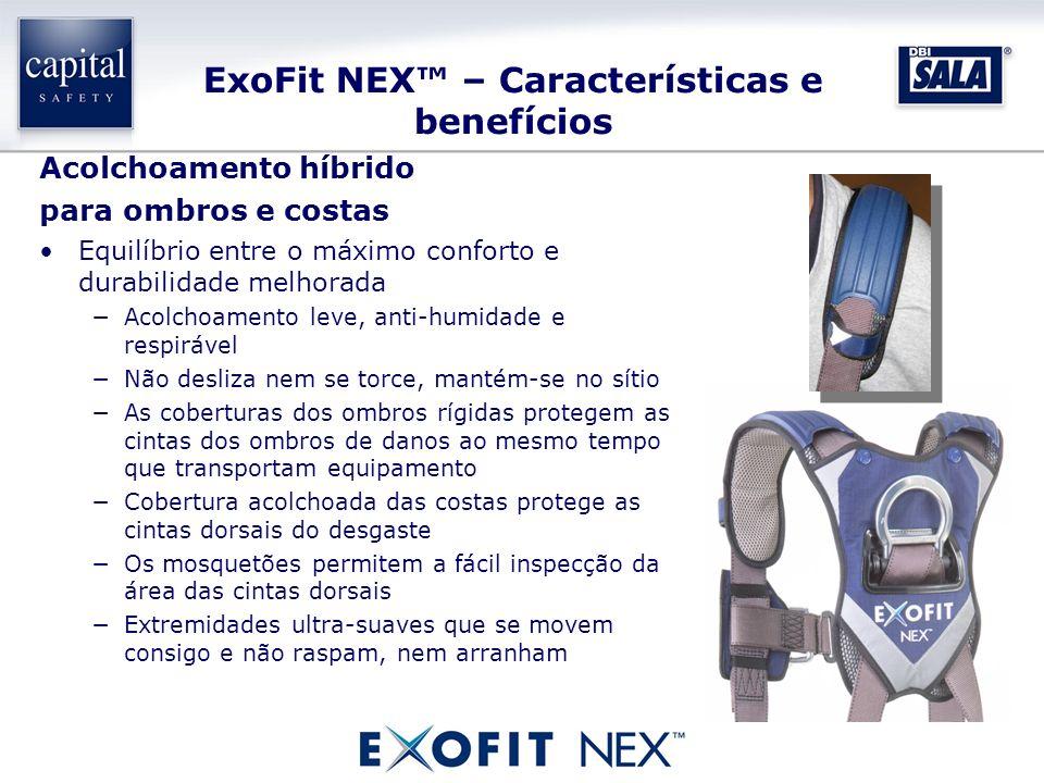 ExoFit NEX – Características e benefícios Acolchoamento híbrido para ombros e costas Equilíbrio entre o máximo conforto e durabilidade melhorada Acolc