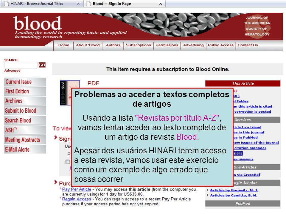 Problemas ao aceder a textos completos de artigos Usando a lista