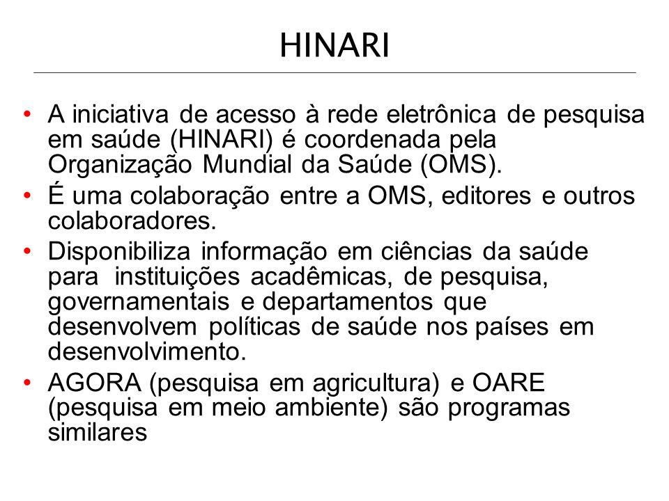 HOA - endereços eletrônicos - URL HINARI: Saúde http://www.who.int/hinari/en/ AGORA: agricultura http://www.aginternetwork.org/en/ OARE: meio-ambiente http://www.oaresciences.org/en/ http://www.who.int/hinari/en/ http://www.aginternetwork.org/en/ http://www.oaresciences.org/en/