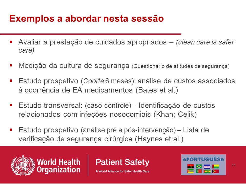 Exemplos a abordar nesta sessão Avaliar a prestação de cuidados apropriados – (clean care is safer care) Medição da cultura de segurança (Questionário