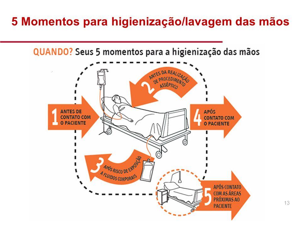 5 Momentos para higienização/lavagem das mãos 13