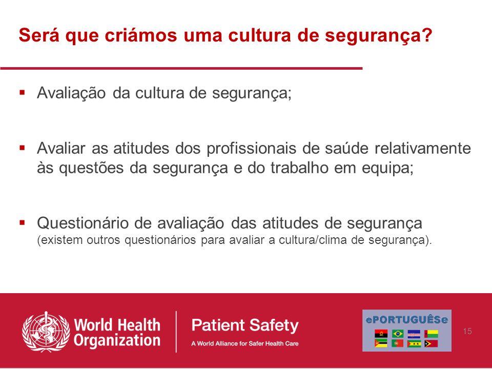Será que criámos uma cultura de segurança? Avaliação da cultura de segurança; Avaliar as atitudes dos profissionais de saúde relativamente às questões