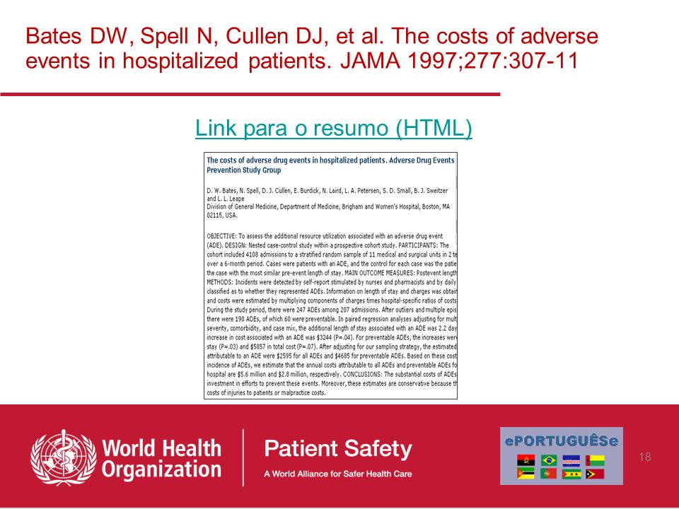 Bates DW, Spell N, Cullen DJ, et al. The costs of adverse events in hospitalized patients. JAMA 1997;277:307-11 Link para o resumo (HTML) 18