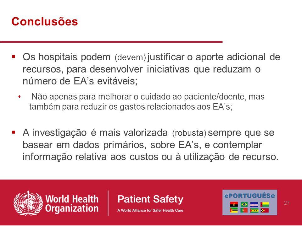 Conclusões Os hospitais podem (devem) justificar o aporte adicional de recursos, para desenvolver iniciativas que reduzam o número de EAs evitáveis; N
