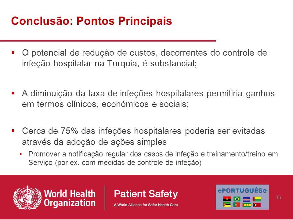 Conclusão: Pontos Principais O potencial de redução de custos, decorrentes do controle de infeção hospitalar na Turquia, é substancial; A diminuição d