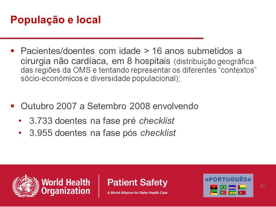 População e local Pacientes/doentes com idade > 16 anos submetidos a cirurgia não cardíaca, em 8 hospitais (distribuição geográfica das regiões da OMS