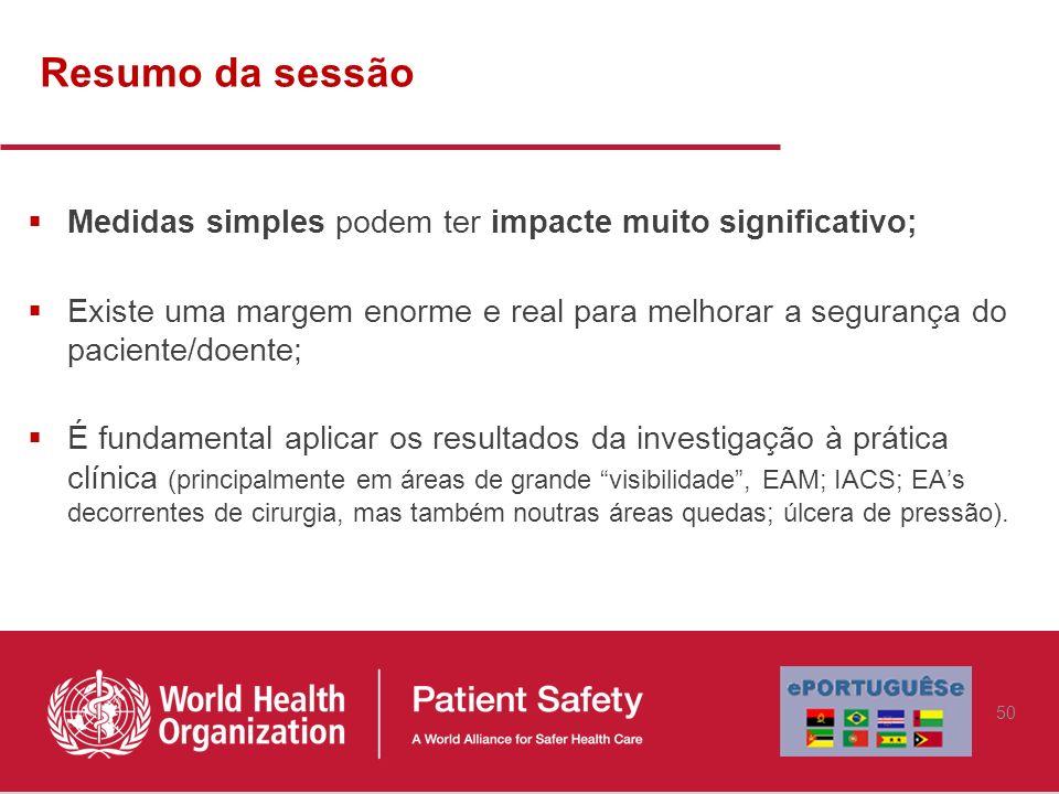 Resumo da sessão Medidas simples podem ter impacte muito significativo; Existe uma margem enorme e real para melhorar a segurança do paciente/doente;