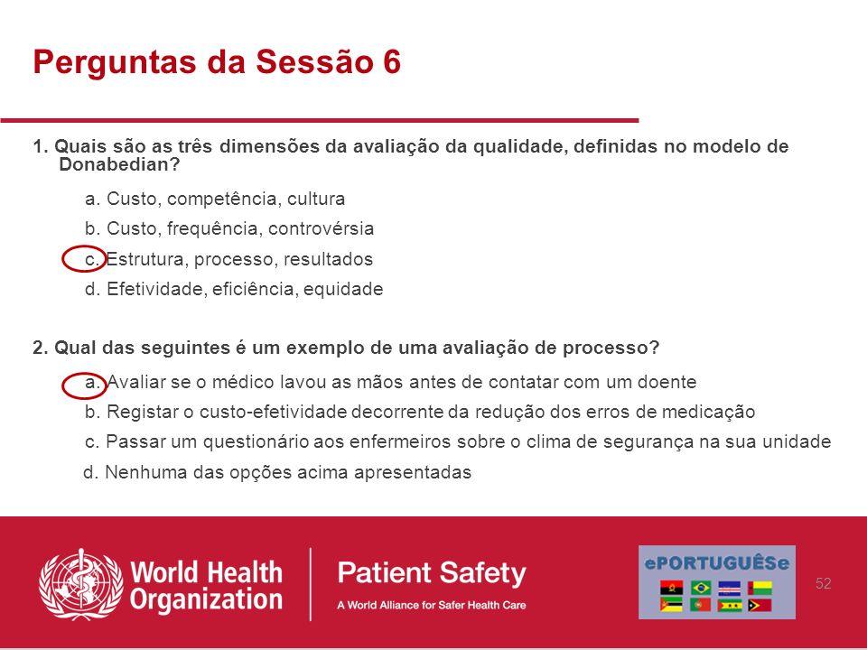 Perguntas da Sessão 6 1. Quais são as três dimensões da avaliação da qualidade, definidas no modelo de Donabedian? a. Custo, competência, cultura b. C