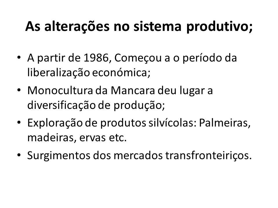 As alterações no sistema produtivo; A partir de 1986, Começou a o período da liberalização económica; Monocultura da Mancara deu lugar a diversificaçã