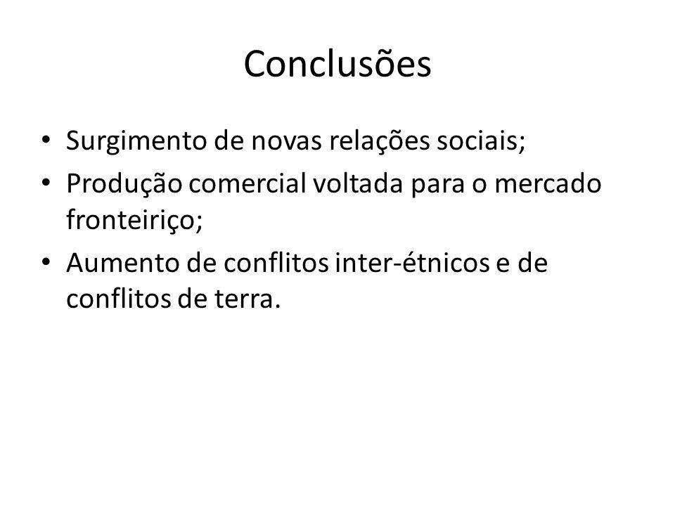 Conclusões Surgimento de novas relações sociais; Produção comercial voltada para o mercado fronteiriço; Aumento de conflitos inter-étnicos e de confli