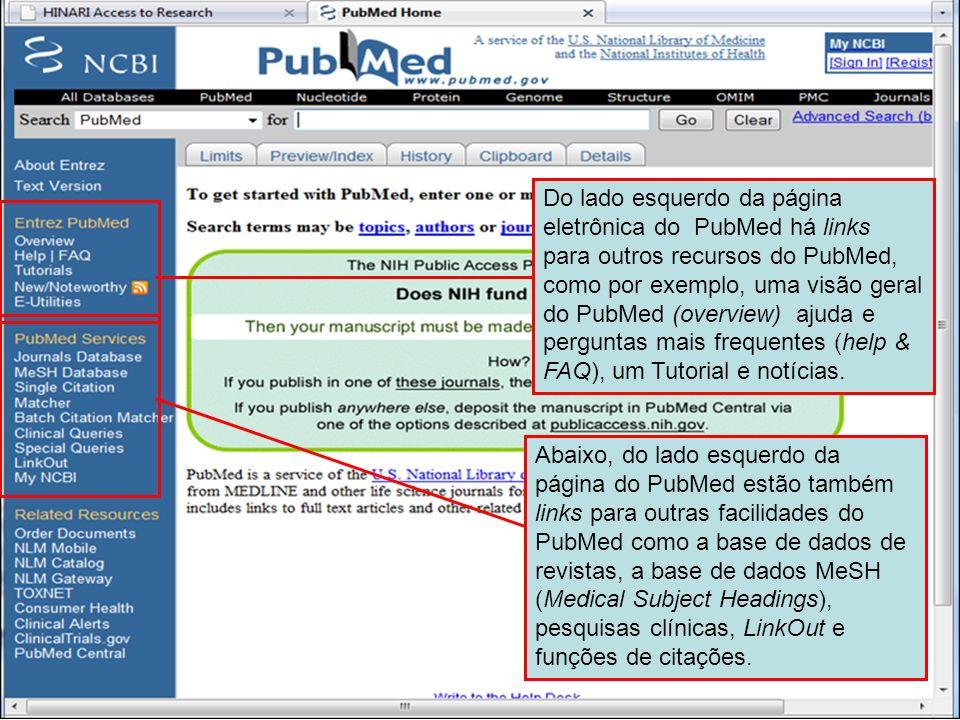 PubMed home page 2 Do lado esquerdo da página eletrônica do PubMed há links para outros recursos do PubMed, como por exemplo, uma visão geral do PubMe