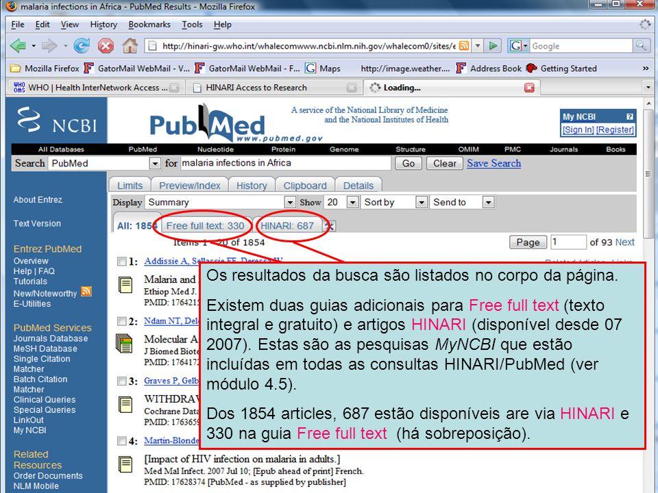Results - default display Os resultados da busca são listados no corpo da página. Existem duas guias adicionais para Free full text (texto integral e