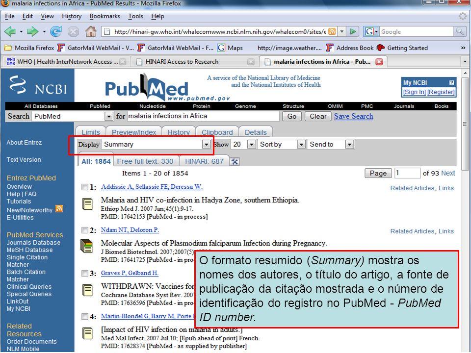 Summary format O formato resumido (Summary) mostra os nomes dos autores, o título do artigo, a fonte de publicação da citação mostrada e o número de i