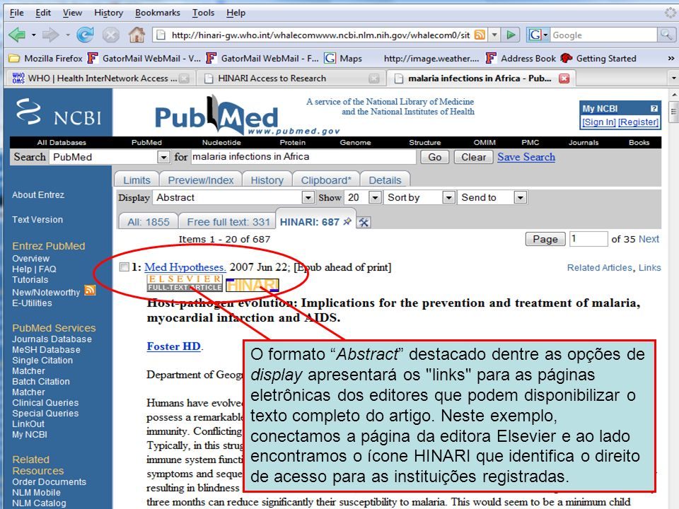 Abstract format – full text links O formato Abstract destacado dentre as opções de display apresentará os