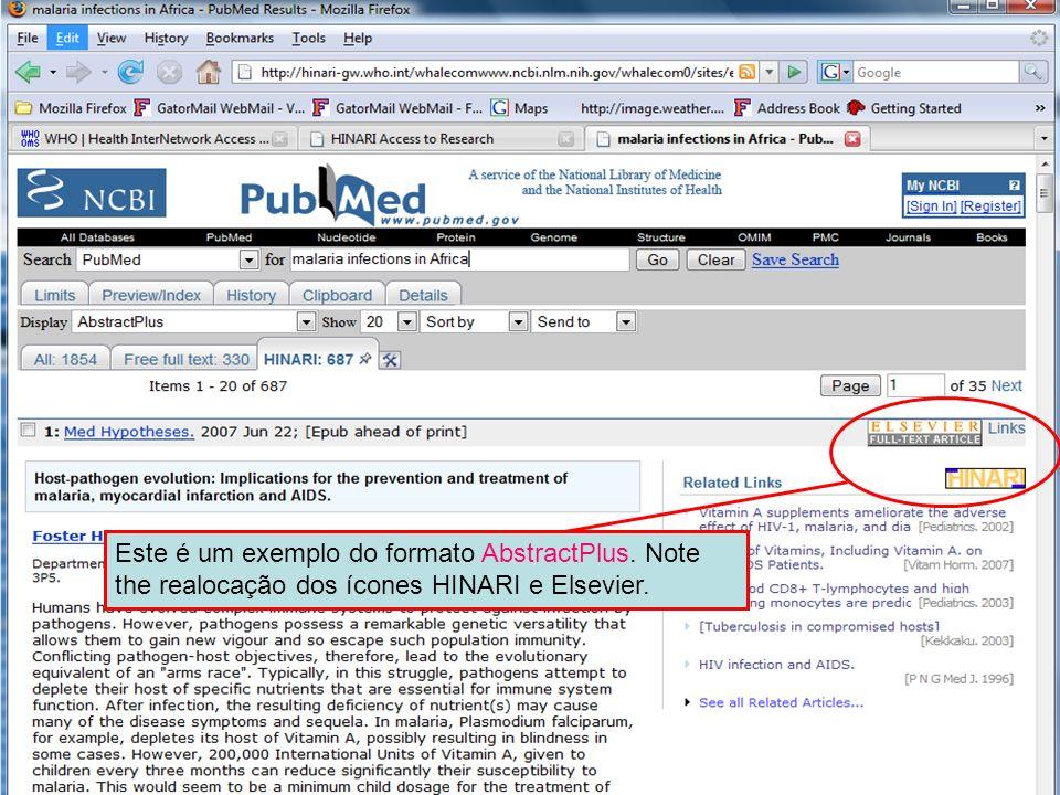 AbstractPlus Example Este é um exemplo do formato AbstractPlus. Note the realocação dos ícones HINARI e Elsevier.