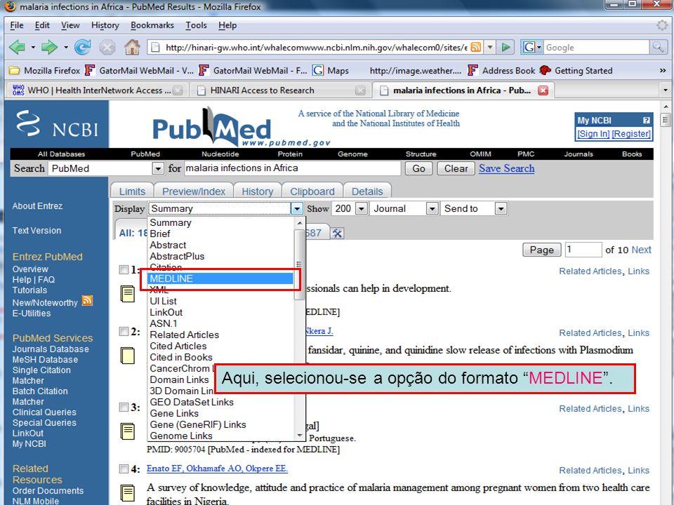 MEDLINE format 1 Aqui, selecionou-se a opção do formato MEDLINE.