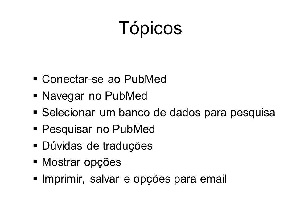 Tópicos Conectar-se ao PubMed Navegar no PubMed Selecionar um banco de dados para pesquisa Pesquisar no PubMed Dúvidas de traduções Mostrar opções Imp