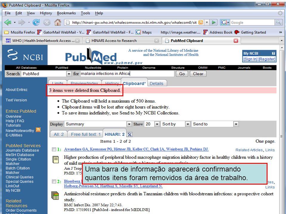 Send to Clipboard 6 Uma barra de informação aparecerá confirmando quantos itens foram removidos da área de trabalho.