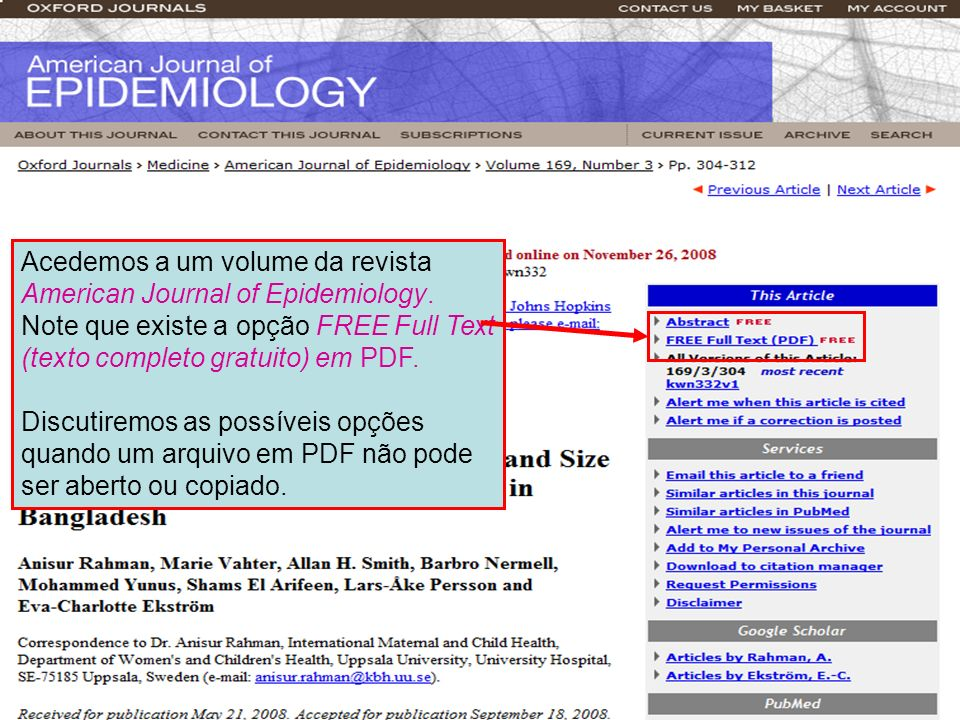 Acedemos a um volume da revista American Journal of Epidemiology. Note que existe a opção FREE Full Text (texto completo gratuito) em PDF. Discutiremo