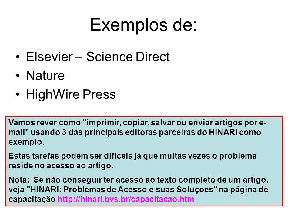 Neste exemplo, acedemos à página da tabela de conteúdos da revista Lancet através da página eletrónica da editota Elsevier Science – Science Direct.
