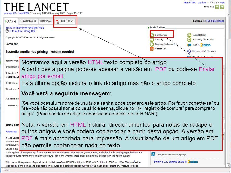 ` Mostramos aqui a versão HTML/texto completo do artigo. A partir desta página pode-se acessar a versão em PDF ou pode-se Enviar artigo por e-mail. Es