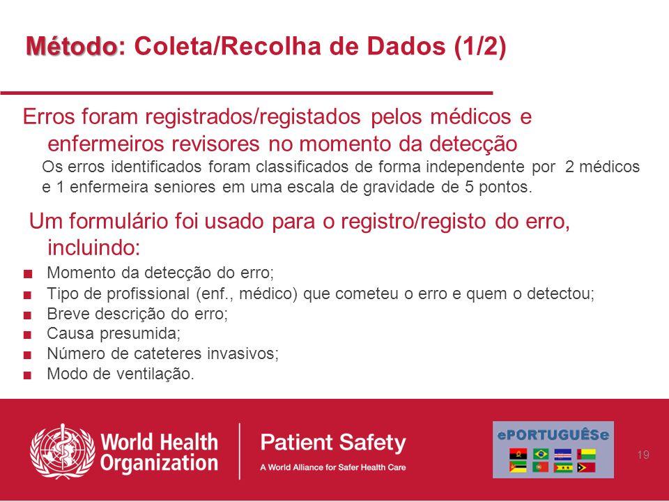 Método Método: Coleta/Recolha de Dados (1/2) Erros foram registrados/registados pelos médicos e enfermeiros revisores no momento da detecção Os erros