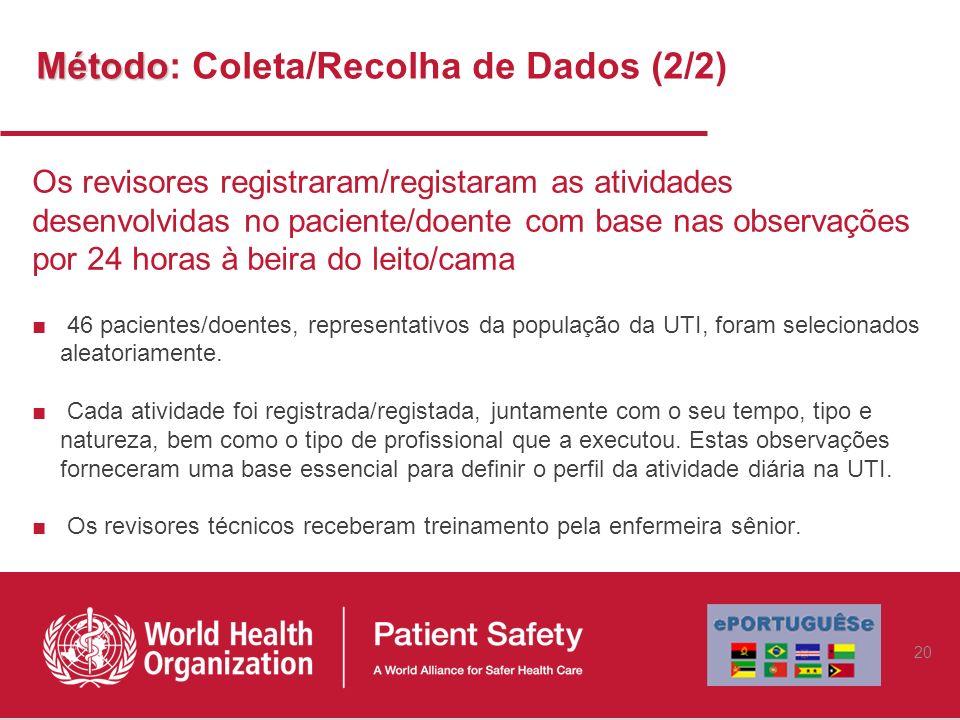 Método Método: Coleta/Recolha de Dados (2/2) Os revisores registraram/registaram as atividades desenvolvidas no paciente/doente com base nas observaçõ