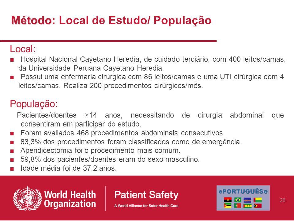 Método Método: Local de Estudo/ População Local: Hospital Nacional Cayetano Heredia, de cuidado terciário, com 400 leitos/camas, da Universidade Perua