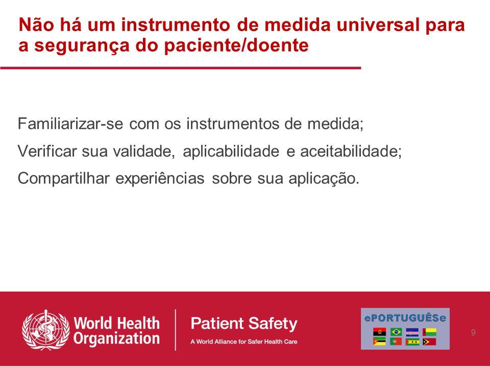 Não há um instrumento de medida universal para a segurança do paciente/doente Familiarizar-se com os instrumentos de medida; Verificar sua validade, a