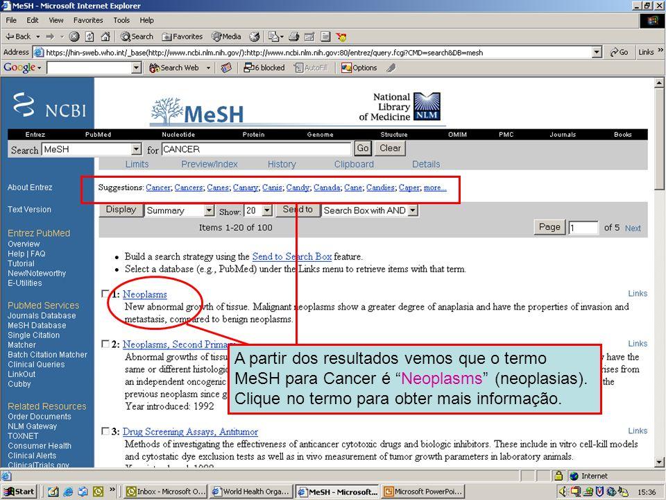 MeSH search results A partir dos resultados vemos que o termo MeSH para Cancer é Neoplasms (neoplasias). Clique no termo para obter mais informação.