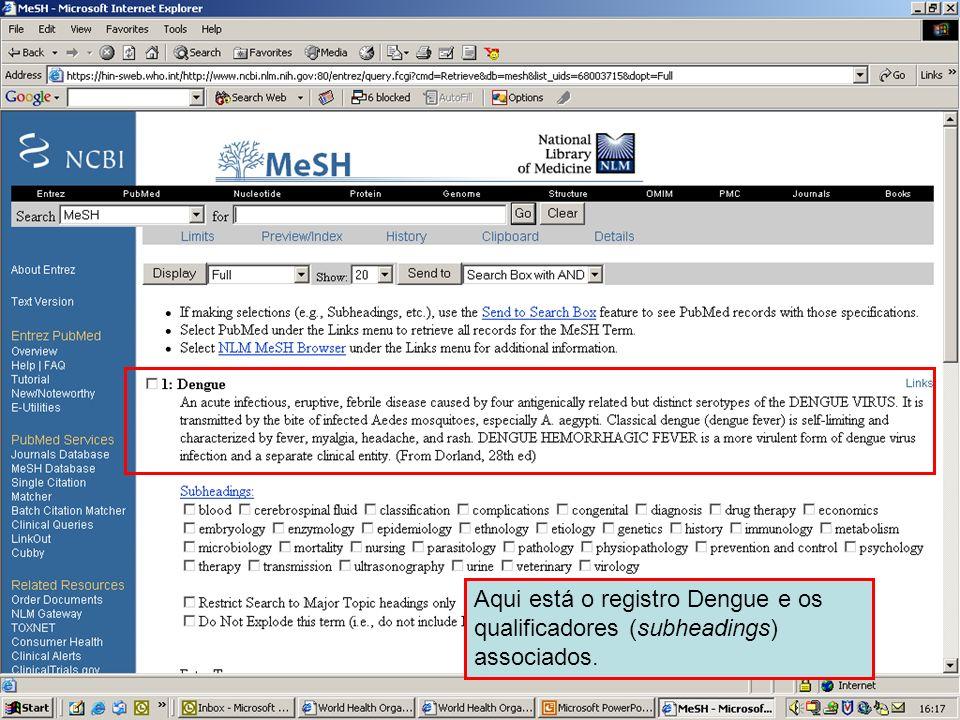 Dengue 3 Aqui está o registro Dengue e os qualificadores (subheadings) associados.