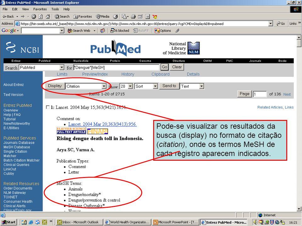 Dengue 6 Pode-se visualizar os resultados da busca (display) no formato de citação (citation), onde os termos MeSH de cada registro aparecem indicados