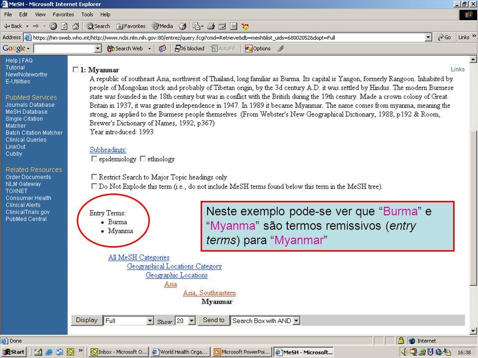 Geographical MeSH terms 5 Neste exemplo pode-se ver que Burma eMyanma são termos remissivos (entry terms) para Myanmar