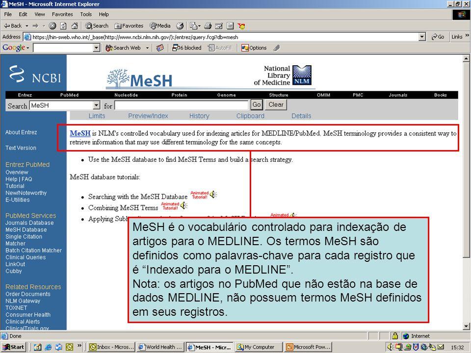 MeSH database MeSH é o vocabulário controlado para indexação de artigos para o MEDLINE. Os termos MeSH são definidos como palavras-chave para cada reg