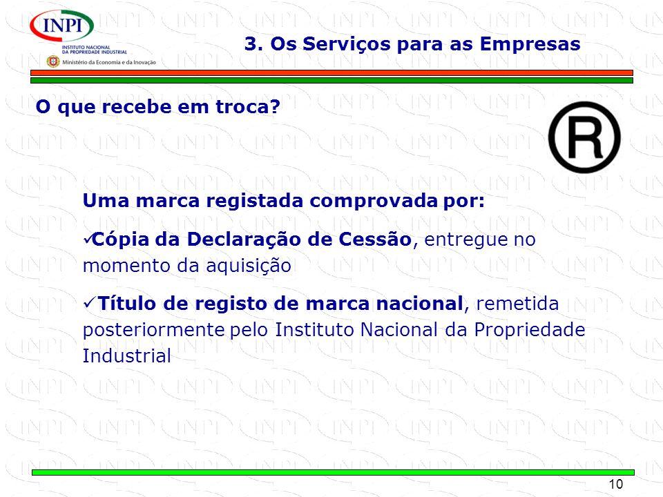 10 MINISTÉRIO DA ECONOMIA E DA INOVAÇÃO Cópia da Declaração de Cessão, entregue no momento da aquisição Título de registo de marca nacional, remetida