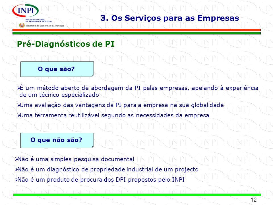 12 MINISTÉRIO DA ECONOMIA E DA INOVAÇÃO É um método aberto de abordagem da PI pelas empresas, apelando à experiência de um técnico especializado Uma a
