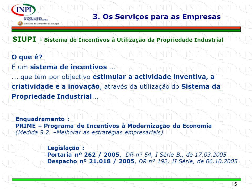 15 MINISTÉRIO DA ECONOMIA E DA INOVAÇÃO SIUPI - Sistema de Incentivos à Utilização da Propriedade Industrial O que é? É um sistema de incentivos......