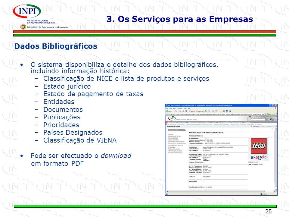 25 MINISTÉRIO DA ECONOMIA E DA INOVAÇÃO O sistema disponibiliza o detalhe dos dados bibliográficos, incluindo informação histórica: –Classificação de