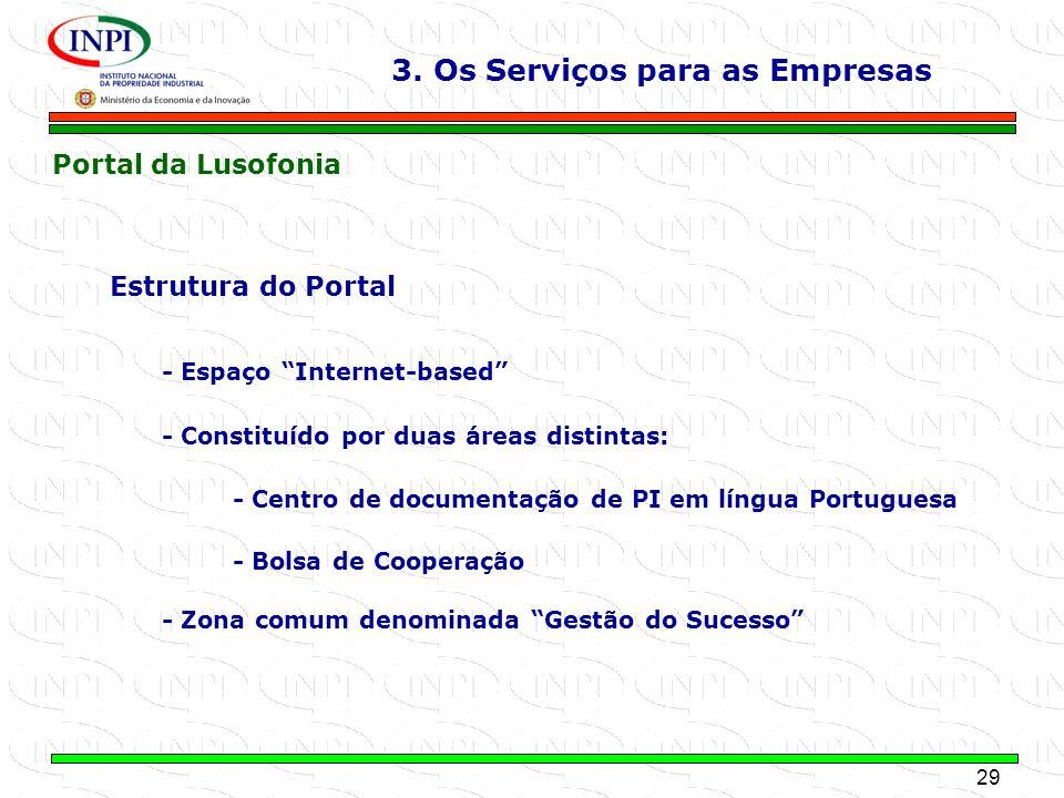 29 MINISTÉRIO DA ECONOMIA E DA INOVAÇÃO Estrutura do Portal - Espaço Internet-based - Constituído por duas áreas distintas: - Centro de documentação d