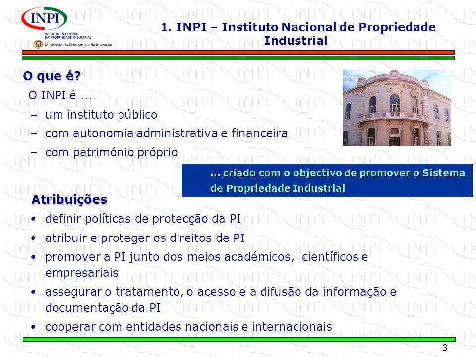3 MINISTÉRIO DA ECONOMIA E DA INOVAÇÃO O que é? O INPI é... –um instituto público –com autonomia administrativa e financeira –com património próprio d