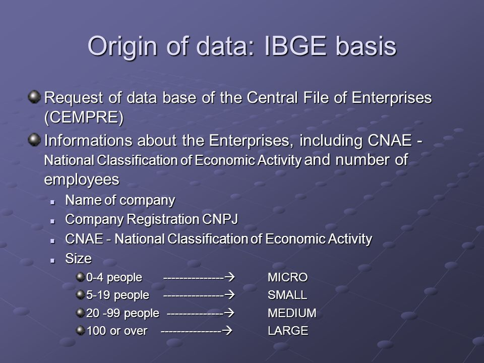 Origin of data: IBGE basis Request of data base of the Central File of Enterprises (CEMPRE) Informations about the Enterprises, including CNAE - Natio