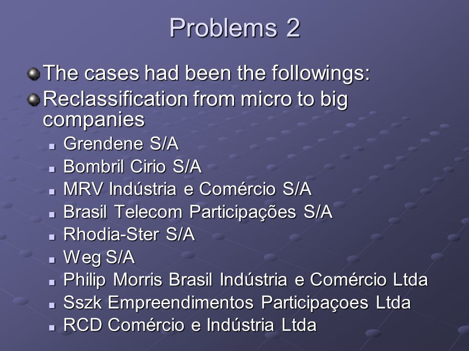 Problems 2 The cases had been the followings: Reclassification from micro to big companies Grendene S/A Grendene S/A Bombril Cirio S/A Bombril Cirio S
