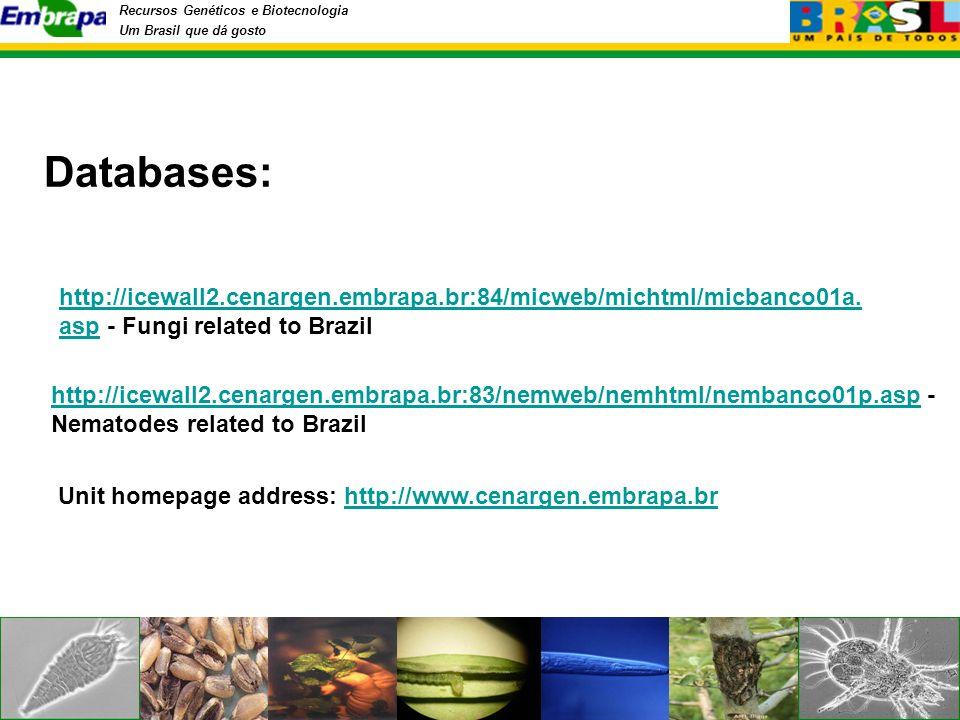 Recursos Genéticos e Biotecnologia Um Brasil que dá gosto Databases: http://icewall2.cenargen.embrapa.br:84/micweb/michtml/micbanco01a.