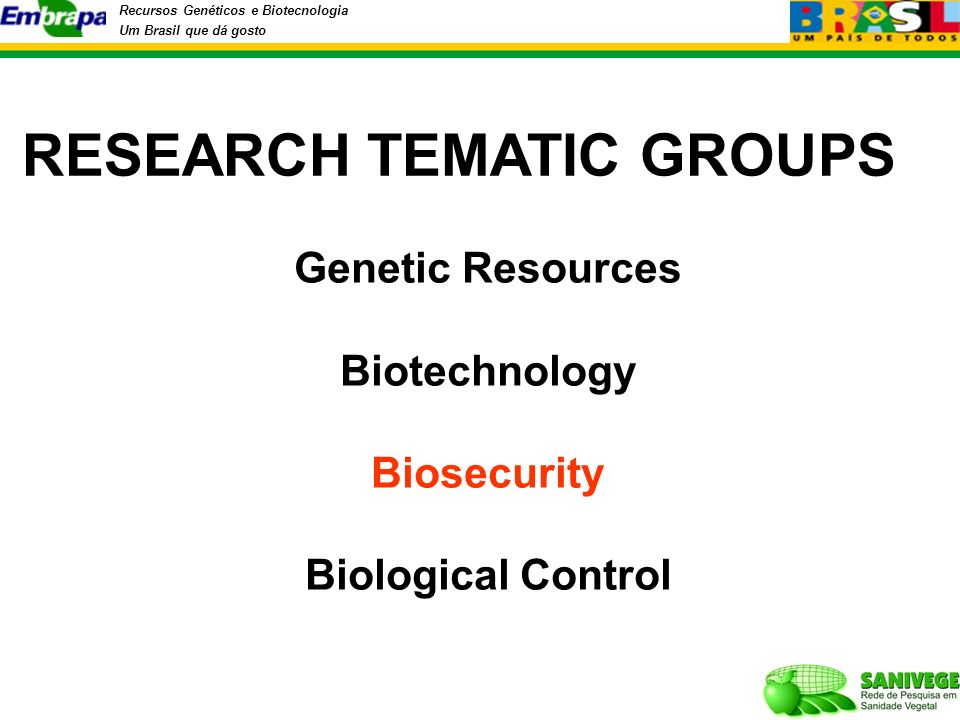 Recursos Genéticos e Biotecnologia Um Brasil que dá gosto RESEARCH TEMATIC GROUPS Genetic Resources Biotechnology Biosecurity Biological Control