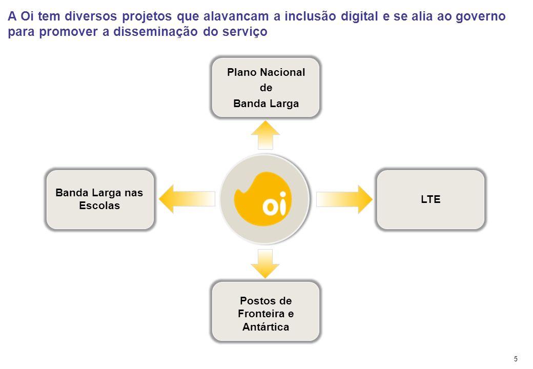 Oi incentiva a inclusão digital e o desenvolvimento e conta com infraestrutura diferenciada para contribuir com esse crescimento Fonte: Oi, Anatel, At
