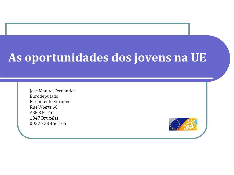 As oportunidades dos jovens na UE José Manuel Fernandes Eurodeputado Parlamento Europeu Rue Wiertz 60 ASP 8 E 146 1047 Bruxelas 0032 228 456 165