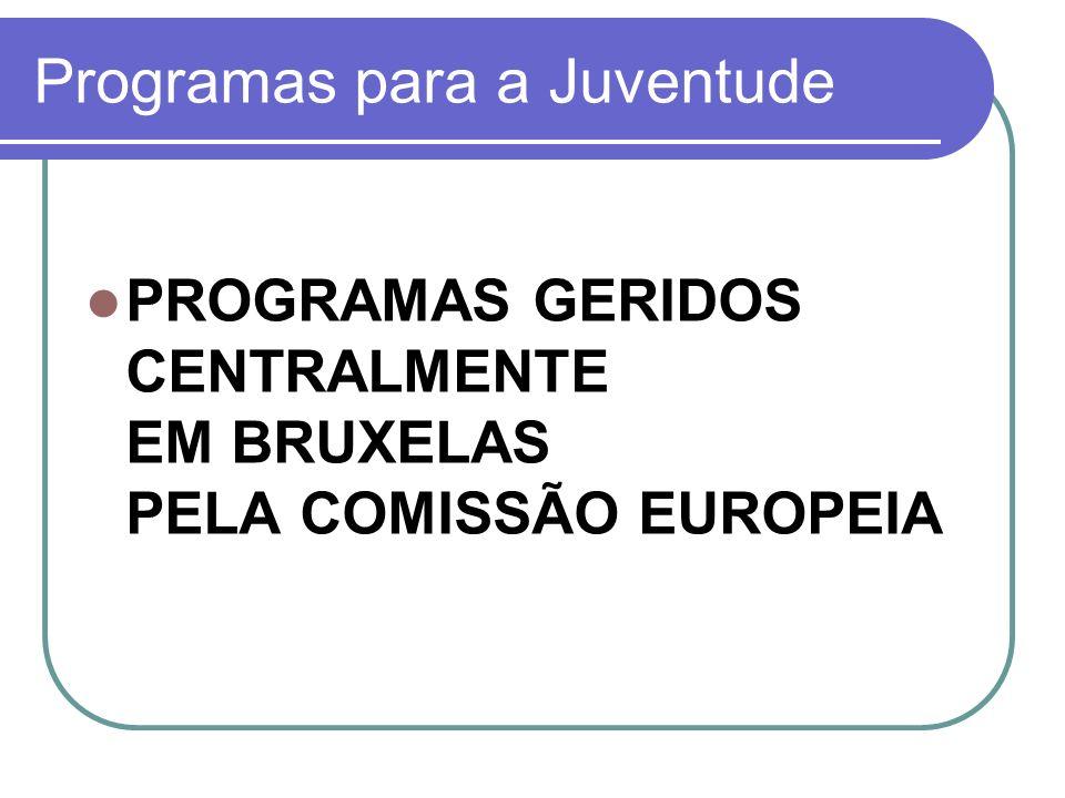 Programas para a Juventude PROGRAMAS GERIDOS CENTRALMENTE EM BRUXELAS PELA COMISSÃO EUROPEIA