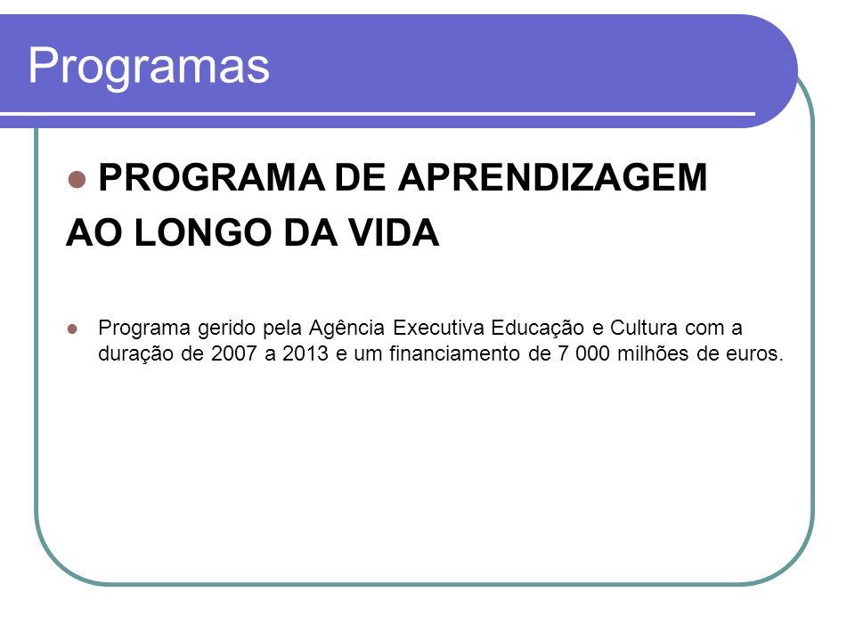 Programas PROGRAMA DE APRENDIZAGEM AO LONGO DA VIDA Programa gerido pela Agência Executiva Educação e Cultura com a duração de 2007 a 2013 e um financ